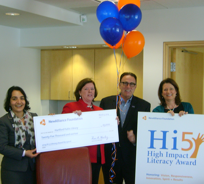 HPL Receives Surprise NewAlliance High Impact Literacy Award