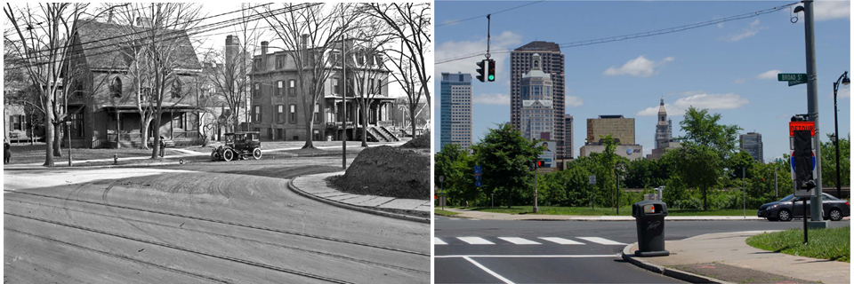 Broad Street at Farmington Ave 1914 and 2014