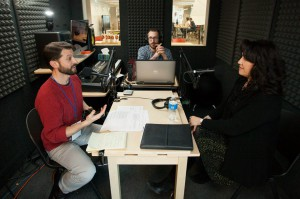 A conversation being recorded in the YOUMedia recording studio. Photo by Visual Appeal Studio.
