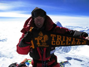 Anne Parmenter representing Trinity College on the summit of Mt. Everest in 2006.