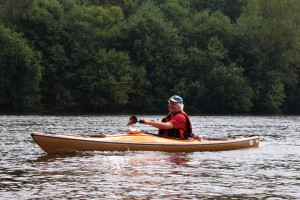 Steve Grant paddling along the Connecticut River in Windsor, CT.