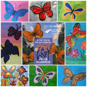 butterflies with book cover